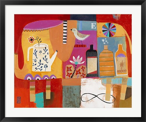 Framed Colorful Elephant Print