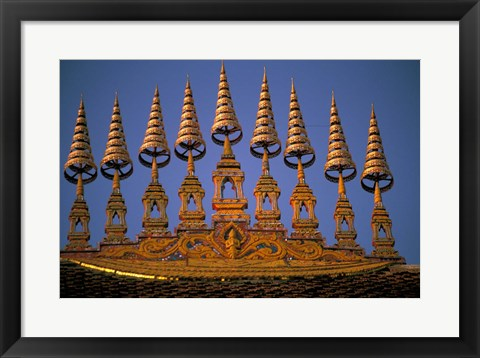 Framed Temple Decoration, Vientiane, Laos Print