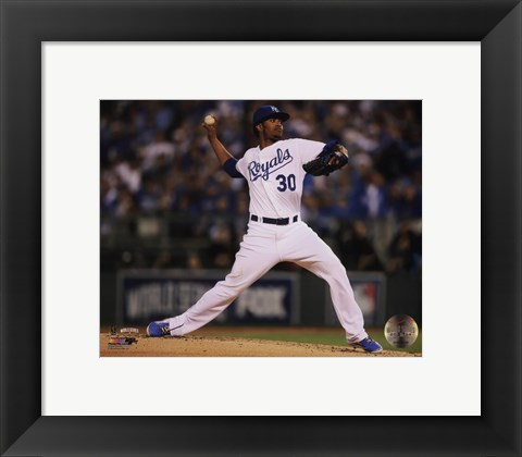 Framed Yordano Ventura Game 6 of the 2014 World Series Action Print