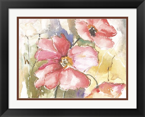 Framed Soft Poppies I Print