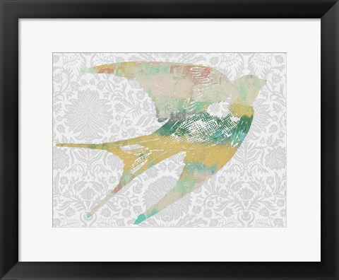 Framed Patterned Bird II Print