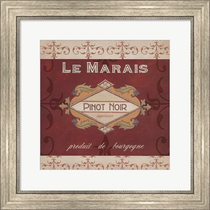 Framed Burgundy Wine Labels I Print