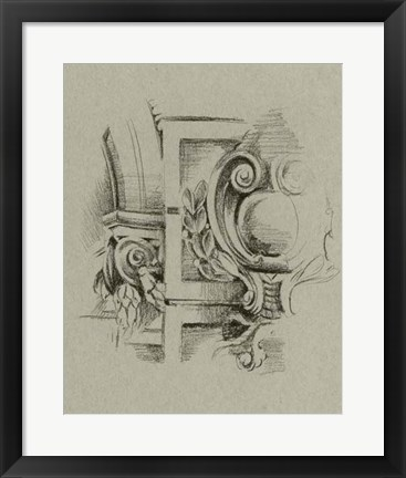 Framed Charcoal Architectural Study IV Print