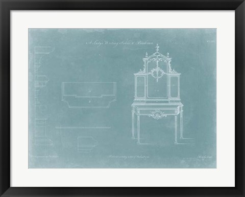 Framed Lady's Writing Table & Bookcase Print