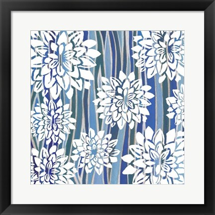 Framed Striped Dahlias I Print