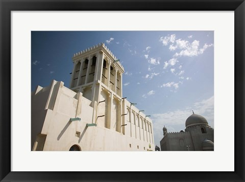 Framed Qatar, Ad Dawhah, Doha. Heritage House Museum- Traditional Badgir (Wind Tower) built in 1935 Print