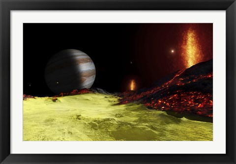 Framed Volcanic activity on Jupiter's moon Io, with the planet Jupiter visible on the horizon Print