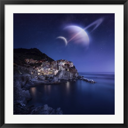 Framed View of Manarola on a starry night with planets, Northern Italy Print