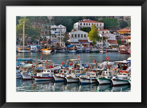 Framed Old Harbor and boats in reflection Antalya, Turkey Print