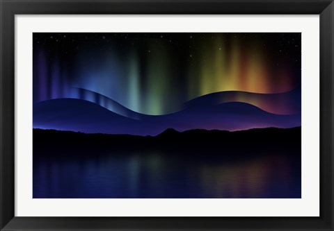 Framed Northern Lights Abstract Print
