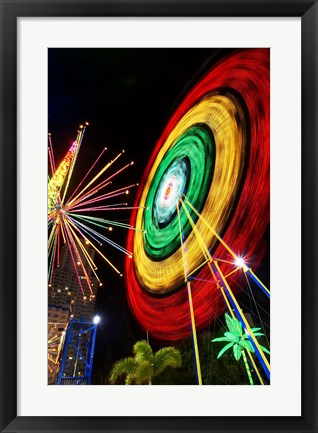 Framed Amusement Park at Night, Surfers Paradise, Gold Coast, Queensland, Australia Print