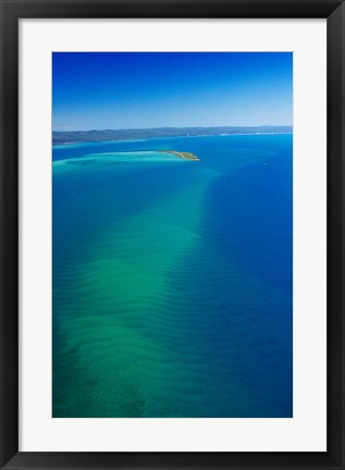 Framed Great Sandy Straits, Little Woody Island and Fraser Island, Queensland, Australia Print