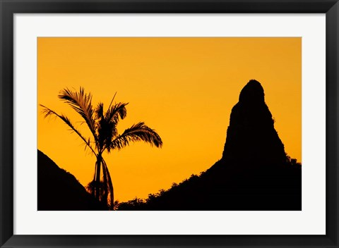 Framed Sunset over Glass House Mountains, Sunshine Coast, Queensland, Australia Print
