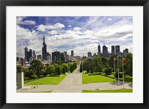 Framed View from the Shrine of Remembrance, Melbourne, Victoria, Australia Print