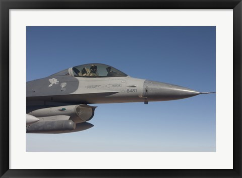 Framed F-16 Fighting Falcon During a Training Mission Print