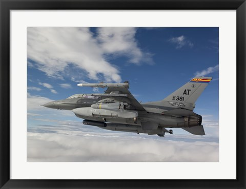 Framed F-16 Fighting Falcon flies with AGM-65 Maverick Print