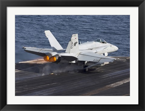 Framed F/A-18C Hornet Taking Off from the USS Dwight D Eisenhower Print