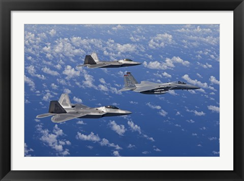 Framed F-15 Eagle and Two F-22 Raptors over Japan Print