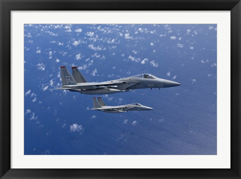 Framed Two F-15 Eagles over the Pacific Ocean Print