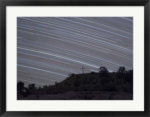 Framed Star Trails over a cross in Oklahoma Print