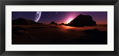 Framed View of an Alien Sunset from High Above the Clouds Print