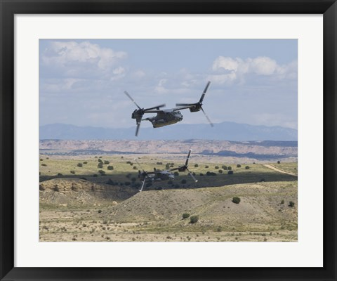 Framed Two CV-22 Osprey's Low Level Flying over New Mexico Print