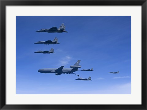 Framed Six F-15 Eagles Refuel from a KC-10 Extender Print