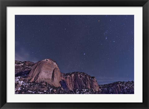 Framed La Ventana arch with the Orion Constellation Rising Above Print
