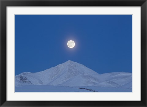 Framed Full Moon over Ogilvie Mountains, Canada Print