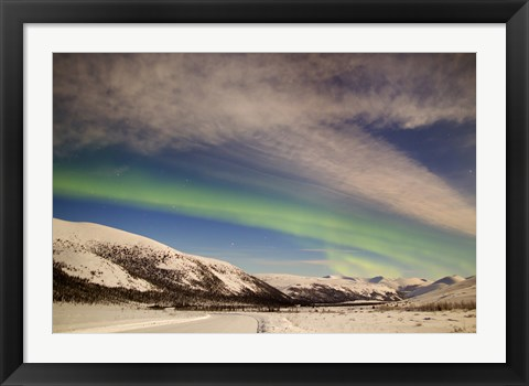 Framed Aurora Borealis with Moonlight over Ogilvie Mountains, Canada Print