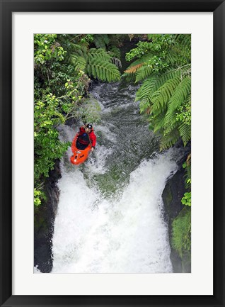 Framed Kayak in Tutea's Falls, Okere River, New Zealand Print