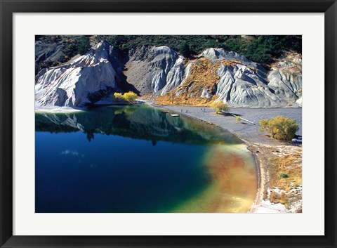 Framed Blue Lake, St Bathans, Central Otago, New Zealand Print