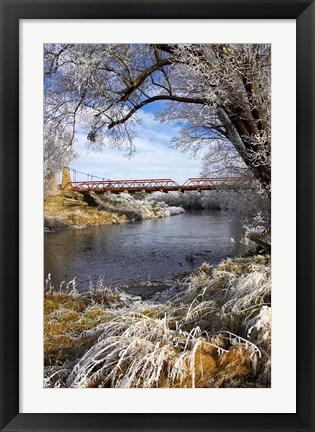 Framed Historic Suspension Bridge, Taieri River, South Island, New Zealand Print