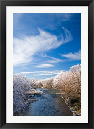 Framed Manuherikia River and Hoar Frost, Ophir, Central Otago, South Island, New Zealand Print