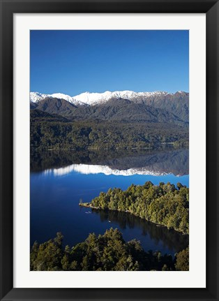 Framed Kayakers, Lake Mapourika, South Island, New Zealand Print