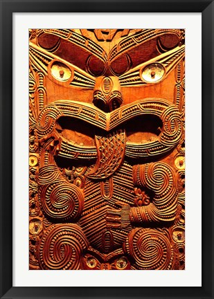 Framed Historic Maori Carving, Otago Museum, New Zealand Print