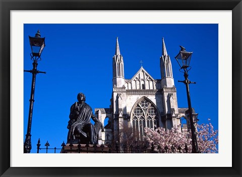 Framed St Pauls Cathedral and Robert Burns Statue, Octagon, Dunedin, New Zealand Print