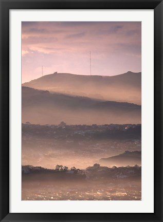 Framed Early Morning over Dunedin and Otago Peninsula, New Zealand Print