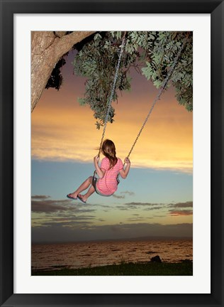 Framed Girl, Rope Swing, Family Fun, Thames, New Zealand Print