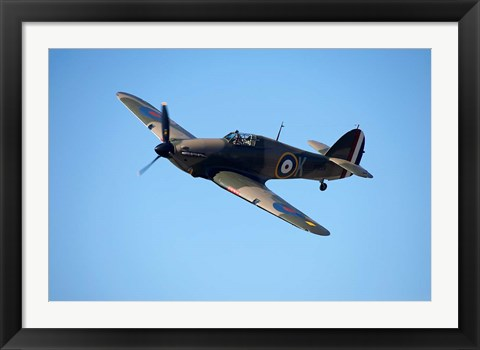 Framed Hawker Hurricane, British and allied WWII Fighter Plane Print