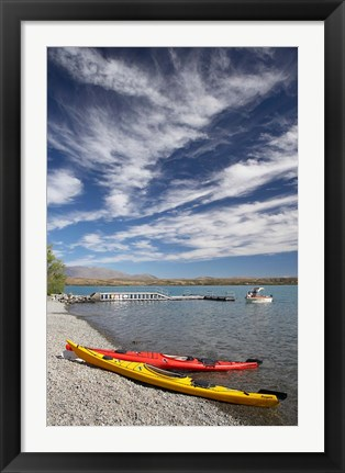 Framed Kayaks, Lake Ohau, Canterbury, South Island, New Zealand Print