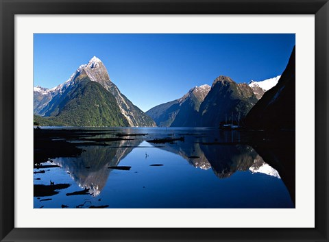 Framed Mitre Peak & Milford Sound, Fiordland National Park, New Zealand Print