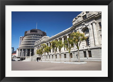 Framed New Zealand, Wellington, The Beehive and Parliament House Print