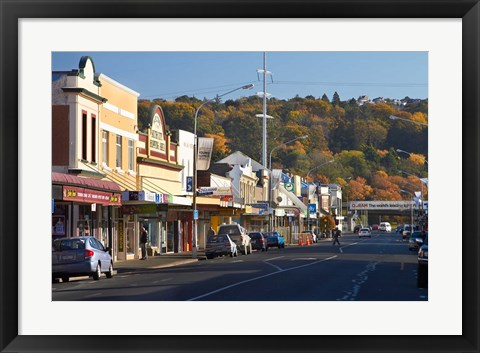 Framed Shops on King Edward Street, Autumn, Dunedin, South Island, New Zealand Print