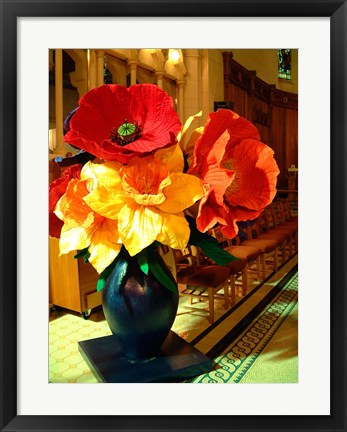 Framed Cathedral Flower Display, Christchurch, New Zealand Print
