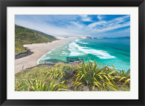 Framed New Zealand, North Island, Cape Reinga, Te Werahi Beach Print