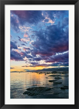 Framed New Zealand, South Island, Kaikoura, South Bay Sunset Print