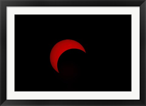 Framed Partial Solar Eclipse (red sun) Print
