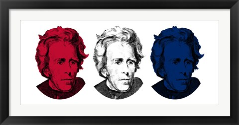Framed Andrew Jackson in Red, White and Blue Print