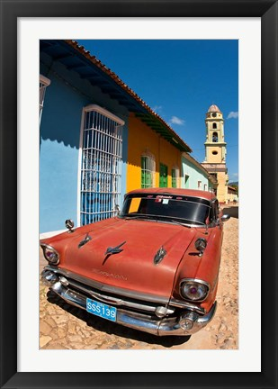 Framed Old Classic Chevy on cobblestone street of Trinidad, Cuba Print